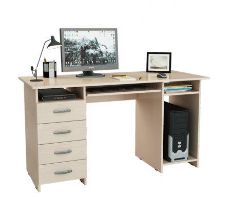 Компьютерный стол Милан-6П МСТ-СДМ-6П-##-16 дуб молочныйКомпьютерные столы<br>Выдвижные ящики на роликовых направляющих<br>