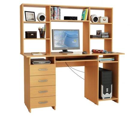 Компьютерный стол Милан-6П МСТ-СДМ-6П-##-16 с надставкой МСТ-НСМ-БШ-##-16 букКомпьютерные столы<br>Параметры надставки (В х Г х Ш): 75 см х 25 см х 143,6см.<br>