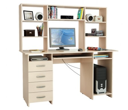 Компьютерный стол Милан-6П МСТ-СДМ-6П-##-16 с надставкой МСТ-НСМ-БШ-##-16 дуб молочныйКомпьютерные столы<br>Параметры надставки (В х Г х Ш): 75 см х 25 см х 143,6см.<br>