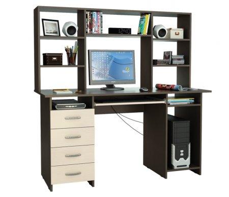 Компьютерный стол Милан-6П МСТ-СДМ-6П-##-16 с надставкой МСТ-НСМ-БШ-##-16 венге / дуб молочныйКомпьютерные столы<br>Параметры надставки (В х Г х Ш): 75 см х 25 см х 143,6см.<br>