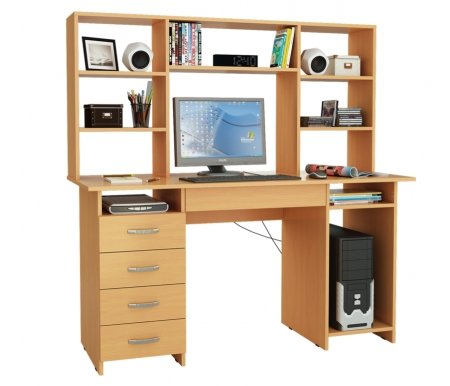 Компьютерный стол Милан-6Я МСТ-СДМ-6Я-##-16 с надставкой МСТ-НСМ-БШ-##-16 букКомпьютерные столы<br>Параметры надставки (В х Г х Ш): 75 см х 25 см х 143,6 см.<br>
