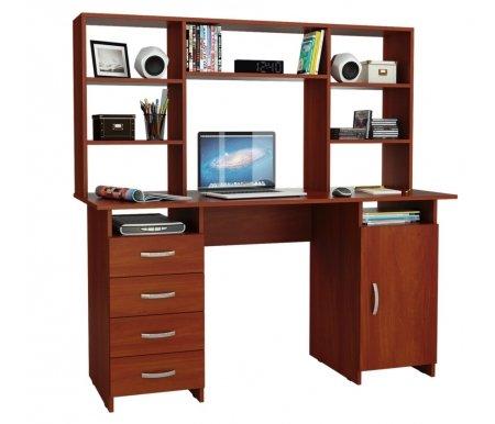 Компьютерный стол Милан-7 МСТ-СДМ-07-##-16 с надставкой МСТ-НСМ-БШ-##-16 итальянский орехКомпьютерные столы<br>Выдвижные ящики на роликовых направляющих. <br>Параметры надставки (В х Г х Ш): 75 см х 25 см х 143,6см.<br>