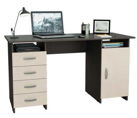Компьютерный стол Милан-7 МСТ-СДМ-07-##-16 венге / дуб молочныйКомпьютерные столы<br>Все ящики на роликовых направляющих.<br>