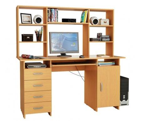 Компьютерный стол Милан-7П МСТ-СДМ-7П-##-16 с надставкой МСТ-НСМ-БШ-##-16 букКомпьютерные столы<br>Параметры надставки (В х Г х Ш): 75 см х 25 см х 143,6см.<br>