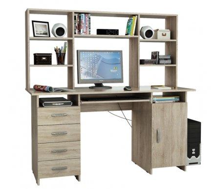 Компьютерный стол Милан-7П МСТ-СДМ-7П-##-16 с надставкой МСТ-НСМ-БШ-##-16 дуб сономаКомпьютерные столы<br>Параметры надставки (В х Г х Ш): 75 см х 25 см х 143,6см.<br>