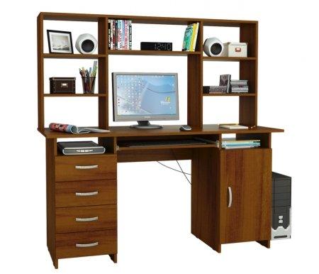 Компьютерный стол Милан-7П МСТ-СДМ-7П-##-16 с надставкой МСТ-НСМ-БШ-##-16 орехКомпьютерные столы<br>Параметры надставки (В х Г х Ш): 75 см х 25 см х 143,6см.<br>