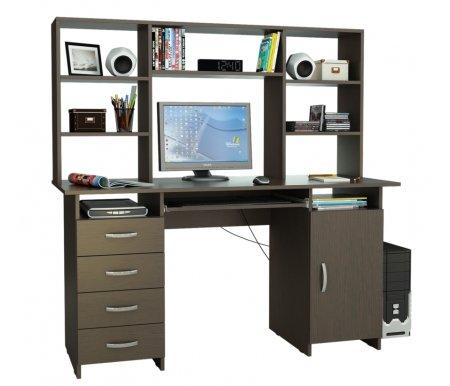 Компьютерный стол Милан-7П МСТ-СДМ-7П-##-16 с надставкой МСТ-НСМ-БШ-##-16 венгеКомпьютерные столы<br>Параметры надставки (В х Г х Ш): 75 см х 25 см х 143,6см.<br>