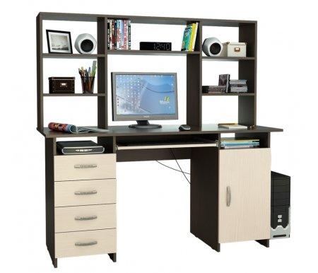 Компьютерный стол Милан-7П МСТ-СДМ-7П-##-16 с надставкой МСТ-НСМ-БШ-##-16 венге / дуб молочныйКомпьютерные столы<br>Параметры надставки (В х Г х Ш): 75 см х 25 см х 143,6см.<br>