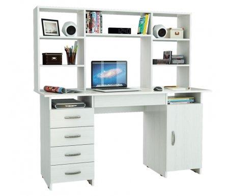 Компьютерный стол Милан-7Я МСТ-СДМ-7Я-##-16 с надставкой МСТ-НСМ-БШ-##-16 белыйКомпьютерные столы<br>Параметры надставки (В х Г х Ш): 75 см х 25 см х 143,6 см.<br>