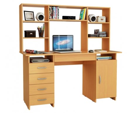 Компьютерный стол Милан-7Я МСТ-СДМ-7Я-##-16 с надставкой МСТ-НСМ-БШ-##-16 букКомпьютерные столы<br>Параметры надставки (В х Г х Ш): 75 см х 25 см х 143,6 см.<br>