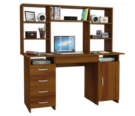 Компьютерный стол Милан-7Я МСТ-СДМ-7Я-##-16 с надставкой МСТ-НСМ-БШ-##-16 орехКомпьютерные столы<br>Параметры надставки (В х Г х Ш): 75 см х 25 см х 143,6 см.<br>