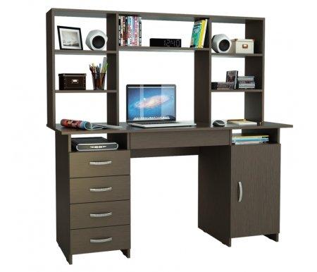 Компьютерный стол Милан-7Я МСТ-СДМ-7Я-##-16 с надставкой МСТ-НСМ-БШ-##-16 венгеКомпьютерные столы<br>Параметры надставки (В х Г х Ш): 75 см х 25 см х 143,6 см.<br>
