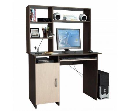 Компьютерный стол Милан-8 МСТ-СДМ-08-##-16 с надставкой МСТ-НСМ-СР-##-16 венге / дуб молочныйКомпьютерные столы<br>Выдвижные ящики на роликовых направляющих. <br>Размещение тумбы возможно как с правой, так и с левой стороны.При заказе необходимо выбрать нужный вариант.<br> <br>Параметры надставки (В х Г х Ш): 75 см х 25 см х 110 см.<br>