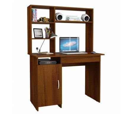 Компьютерный стол Милан-8Я МСТ-СДМ-8Я-##-16 с надставкой МСТ-НСМ-СР-##-16 орехКомпьютерные столы<br>Параметры надставки (В х Г х Ш): 75 см х 25 см х 110 см.<br>