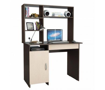 Компьютерный стол Милан-8Я МСТ-СДМ-8Я-##-16 с надставкой МСТ-НСМ-СР-##-16 венге / дуб молочныйКомпьютерные столы<br>Параметры надставки (В х Г х Ш): 75 см х 25 см х 110 см.<br>