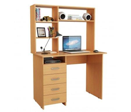 Компьютерный стол Милан МСТ-СДМ-00-##-16-ПР с надставкой МСТ-НСМ-СР-##-16 букКомпьютерные столы<br>Выдвижные ящики на роликовых направляющих. <br>Размещение тумбы возможно как с правой, так и с левой стороны.При заказе необходимо выбрать нужный вариант.<br><br>Параметры надставки (В х Г х Ш): 75 см х 25 см х 110 см.<br>