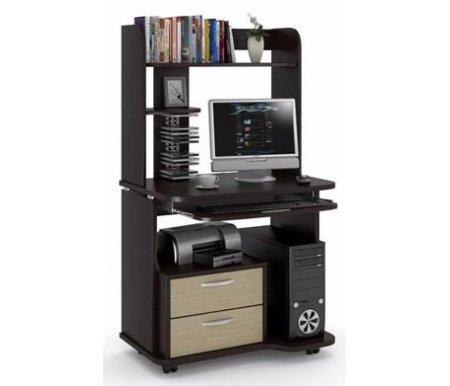 Здесь можно купить НСС 9 с надстройкой венге / дуб выбеленный  Компьютерный стол Фабрика БИС Компьютерные столы