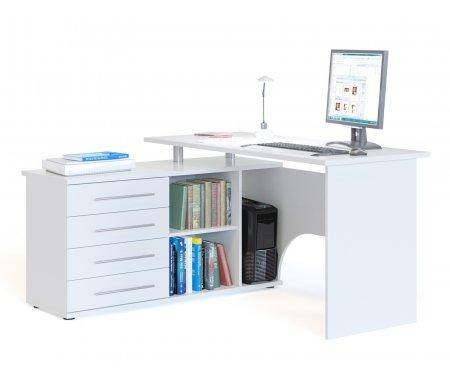 Компьютерный стол с тумбой КСТ-109Компьютерные столы<br>Компьютерный стол КСТ-109 оснащен дополнительной столешницей ввиде тумбы с выдвижными ящиками. Ширина малой столешницы-тумбы 120 см. <br>Внутренний размер выдвижных ящиков 45,6 см х 34,6 см.<br> <br>Размер отделения для системного блока (ВхШхГ) 56,5 см х 22 см х 44 см. <br>  <br> <br>  Столешница и основание тумбы имеют толщину 22 мм, остальные детали имеют толщину 16 мм, края обработаны кантом ПВХ.<br> <br>   <br>    <br>   <br> <br>  Стол поставляется в разобранном виде.<br><br>Длина: 140 см<br>Ширина: 127 см<br>Высота: 75 см<br>Материал: ЛДСП, кант ПВХ<br>Цвет: белый<br>Вес: 58 кг