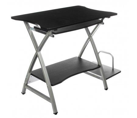 Компьютерный стол Sirius WRX-09Компьютерные столы<br>Стол имеет стальной каркас с напылением, оснащен выдвигающейся полкой под клавиатуру и полкой под системный блок, материал МДФ (15мм). Компьютерный стол благодаря стильному и ненавязчивому дизайну гармонично вольётся в любую композицию интерьера.<br> <br>Вес брутто- 16,2 кг.<br><br>Длина: 106 см<br>Ширина: 51 см<br>Высота: 74 см<br>Материал каркаса: металл<br>Материал столешницы: МДФ<br>Цвет столешницы: черный