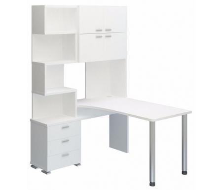 Компьютерный стол СР-500М-140 белый жемчуг / белый жемчуг со столешницей белый жемчуг Мэрдэс