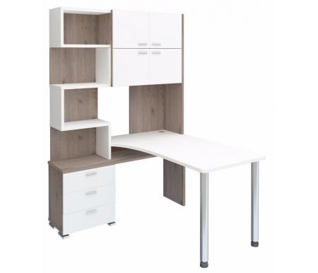 Компьютерный стол СР-500М-140 нельсон / белый жемчуг со столешницей белый жемчуг Мэрдэс