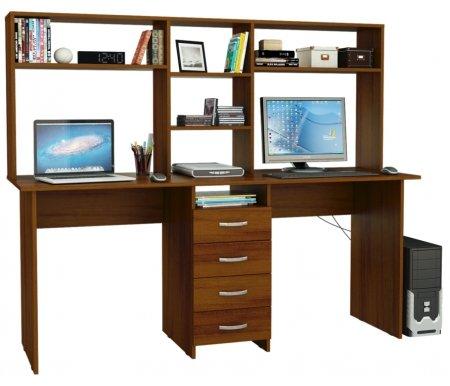 Компьютерный стол Тандем-2 МСТ-СДТ-02-##-16 с надставкой МСТ-НСТ-02-##-16 орехКомпьютерные столы<br>Выдвижные ящики на роликовых направляющих.<br><br>  <br><br><br>Размер стола: 174,8 см х 60 см х 75 см.<br><br>Размер надставки: 174,8 см х 25 см х 70 см.<br>