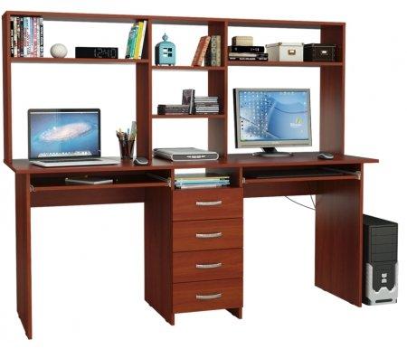 Компьютерный стол Тандем-2П МСТ-СДТ-2П-##-16 с надставкой МСТ-НСТ-02-##-16 итальянский орехКомпьютерные столы<br>Выдвижные ящики на роликовых направляющих.<br><br>  <br><br><br>Размер стола: 174,8 см х 60 см х 75 см.<br><br>Размер надставки: 174,8 см х 25 см х 70 см.<br>