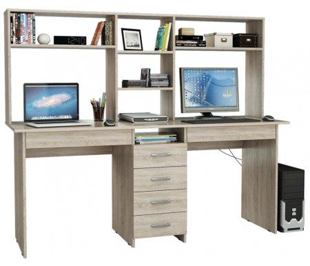 Компьютерный стол Тандем-2Я МСТ-СДТ-2Я-##-16 с надставкой МСТ-НСТ-02-##-16 дуб сономаКомпьютерные столы<br>Под столом расположены вместительные ящики. Все ящики на роликовых направляющих.<br><br>  <br><br><br>Размер стола: 174,8 см х 60 см х 75 см.<br><br>Размер надставки: 174,8 см х 25 см х 70 см.<br>
