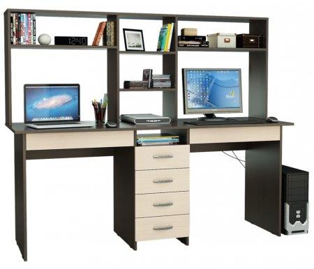 Компьютерный стол Тандем-2Я МСТ-СДТ-2Я-##-16 с надставкой МСТ-НСТ-02-##-16 венге / дуб молочныйКомпьютерные столы<br>Под столом расположены вместительные ящики. Все ящики на роликовых направляющих.<br><br>  <br><br><br>Размер стола: 174,8 см х 60 см х 75 см.<br><br>Размер надставки: 174,8 см х 25 см х 70 см.<br>