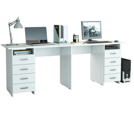 Компьютерный стол Тандем-3 МСТ-СДТ-03-##-16 белыйКомпьютерные столы<br>Выдвижные ящики на роликовых направляющих.<br>