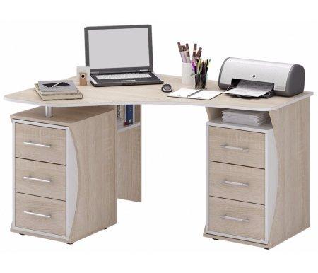 Компьютерный стол Триан-41 МСТ-УСТ-41-##-16 дуб сонома / белыйКомпьютерные столы<br>Выдвижные ящики на роликовых направляющих. <br> <br>      <br>     <br> <br>Срок изготовления - 7 рабочих дней!<br>