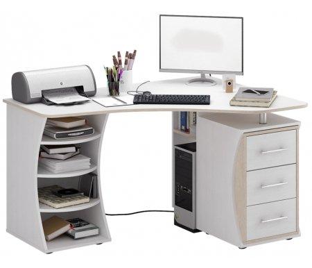 Компьютерный стол Триан-43 МСТ-УСТ-43-##-16-ПР правый белый / дуб сономаКомпьютерные столы<br>Выдвижные ящики на роликовых направляющих. <br> <br>      <br>     <br> <br>Срок изготовления - 7 рабочих дней!<br>