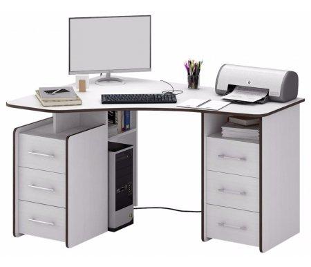 Компьютерный стол Триан-6 МСТ-УСТ-06-##-16 белыйКомпьютерные столы<br>Выдвижные ящики на роликовых направляющих. <br> <br>      <br>     <br> <br>Срок изготовления - 7 рабочих дней!<br>