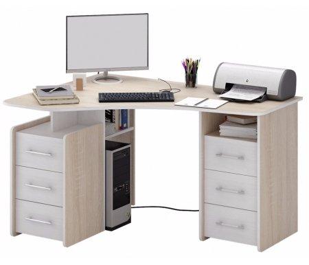 Компьютерный стол Триан-6 МСТ-УСТ-06-##-16 дуб сонома / белыйКомпьютерные столы<br>Выдвижные ящики на роликовых направляющих. <br> <br>      <br>     <br> <br>Срок изготовления - 7 рабочих дней!<br>