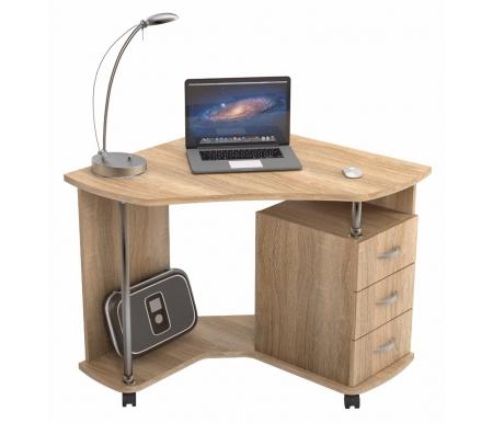 Компьютерный стол КС 20-25Компьютерные столы<br>Благодаря небольшим размерам данный компьютерный стол идеально подойдет для работы на ноутбуке. Столешница выполнена из высококачественной ламинированной ДСП толщиной 22 мм. При сборке тумбу можно расположить как с правой, так и с левой стороны. Стол оснащен колесными опорами, что делает его мобильным.<br><br>Длина: 88 см<br>Ширина: 88 см<br>Высота: 77 см<br>Материал: ЛДСП<br>Цвет: дуб сонома, венге, орех валенсия, молочный дуб<br>Вес: 43 кг