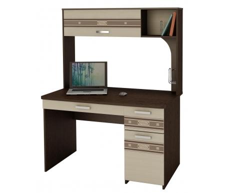 Стол компьютерный Орион 7.10Компьютерные столы<br>Вместительныйкомпьютерный стол Орион 7.10поможет организовать рабочее место и содержать его в порядке. На полочках и в закрытых нишах надстройки можно расположить книги, канцтовары и оргтехнику. На боковой панели стола расположен металлический держатель для важных бумаг или книг. Под столешницейвместо полки для клавиатуры расположен выдвижной ящик для мелочей, а также два больших выдвижных ящика. Ножки стола регулируются по высоте.<br> <br> <br>  <br> <br> <br>Столешница и каркас выполнены из ламинированного ДСП (толщина 22 мм и 16 мм) с окантовкой из ПВХ (2 и 0,4 мм). Фасады стола и ящиков украшены вставками из стекла с рисунком.<br><br>Длина: 120 см<br>Ширина: 70 см<br>Высота: 162 см<br>Материал каркаса: ЛДСП<br>Материал столешницы: ЛДСП<br>Цвет: дуб Венге / Беленый дуб