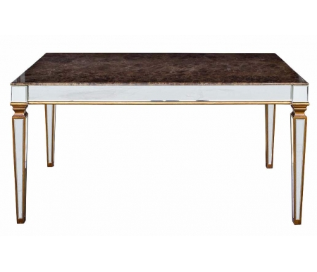 Стол обеденный зеркальный мраморная столешница KFC1152E7AДеревянные столы<br>Ножки стола имеют зеркальную поверхность. <br>Столешница выполнена из мрамора, бока также имеют зеркальную поверхность.<br>
