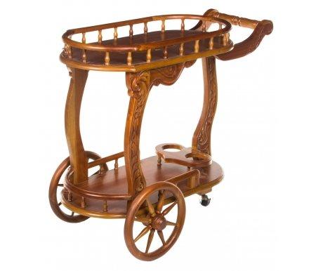 Сервировочный столик HK-829Сервировочные столы<br>Сервировочный столик HK-829 выполнен из массива дерева, имеет необычный флористический резной декор, аккуратные бортики и выемки для бутылок.<br><br>Длина: 95 см<br>Ширина: 55 см<br>Высота: 80 см<br>Материал: массив красного дерева