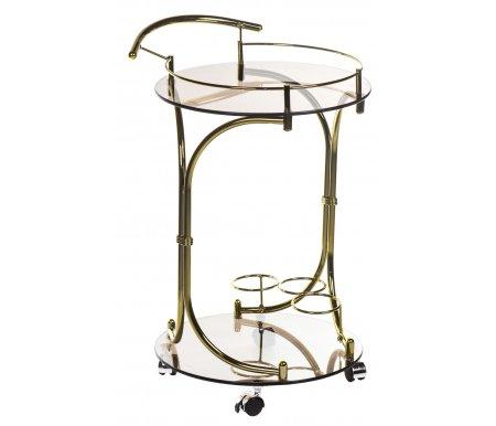 Сервировочный столик VT-S-03Сервировочные столы<br><br><br>Длина: 51 см<br>Ширина: 45 см<br>Высота: 73 см<br>Материал: металл, стекло<br>Цвет металла: золото<br>Цвет стекла: коричневый