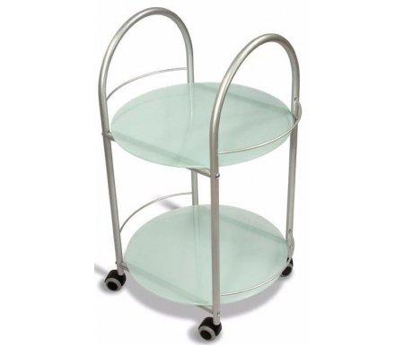 Стол сервировочный ГольфСервировочные столы<br>Стол сервировочный Гольф изготовлен из металла в сочетании со стеклом. Это круглый утонченный столик с двумя дугообразными ручками и колесами. Отлично впишется в интерьер.<br>