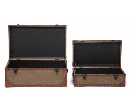 Журнальные столы из двух столиков-сундуков Secret De Maison Boutique (mod. m-11073) коричневый / ткань винтаж  Набор Тетчер