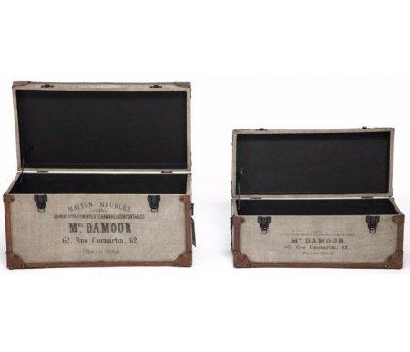 Журнальные столы из двух столиков-сундуков Secret De Maison Fondu (mod. m-12882) коричневый / ткань винтаж  Набор Тетчер