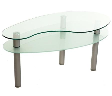 Журнальный стол КапляЖурнальные столы<br>Стол журнальный Капля это стеклянный столик необычной формы с аккуратно обработанными не острыми краями.<br> <br>В изделии присутствует полка из матового стекла под столешницей. Столешница выполнена из прозрачного стекла.<br> <br>Такой предмет мебели отлично подойдет практически к любому интерьеру.<br>