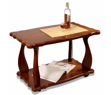 Журнальный стол Комфорт 4Журнальные столы<br>Стол журнальный Комфорт 4 исполнен в классическом стиле из МДФ, покрытого шпоном красного дерева.<br> <br>Изделие имеет нижнюю полку и изогнутые ножки. Дизайн стола спокойный, с легкостью впишется в помещение любого интерьера.<br><br><br>  <br><br> <br>Размер упаковки: 57 см х 86 см х 10 см.<br>
