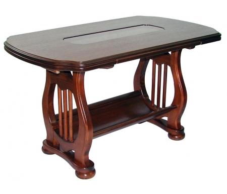 Журнальный стол Орфей раздвижнойЖурнальные столы<br>В журнальном столе Орфей присутствуют фигурные элементы из дерева, вставка в центре столешницы из ротанга под стеклом и внизу ниша. Столешница выполнена из МДФ, покрытого шпоном ясеня.<br> <br>Удобный и красивый предмет мебели, который не оставит вас равнодушным.<br> <br>Размеры полки 61 см х 33,3 см. Материал полки - ДВП+шпон.<br>