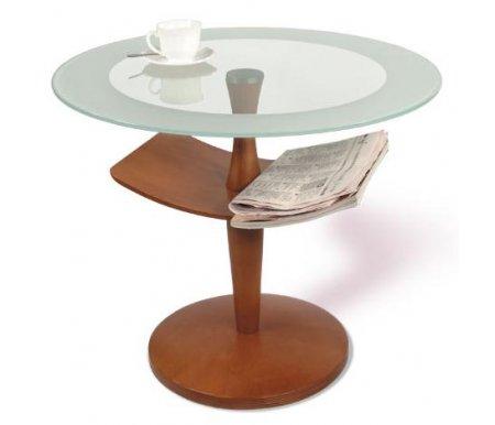 Журнальный стол Рио 2Журнальные столы<br>Журнальный стол Рио 2сочетает в себе стекло и дерево. Отлично подойдет для офиса или личного кабинета. Строгие формы и сочетание цветов делает эту модель журнального столика идеальным решением для помещений в стиле минимализма или хай-тек. <br> <br>  <br> <br>  Размер полки: 45 см х 28 см.<br> <br>  Диаметр основания: 30 см.<br> <br> <br>Высота от полки до основания: 21 см.<br><br>Цвет: Прозрачное стекло<br>Цвет: Тонированное стекло