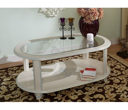 Купить Журнальный стол Дана, №509-С со стеклом декапе, декапе / выбеленный дуб