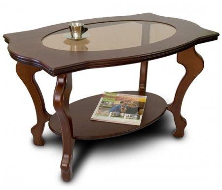 Журнальный стол Берже-1С со стекломЖурнальные столы<br>Журнальный стол Берже-1Сисполнен в классическом стиле из дерева, исполнен в двух цветах. Столешница сделана из МДФ и покрыта шпоном натурального дуба со вставкой из закаленного стекла. Этот столик станет отличным дополнением для вашей гостиной. <br> <br>  <br> <br> <br>Размер нижней полки: 60 см х 40 см.<br><br>Цвет: Темно-коричневый