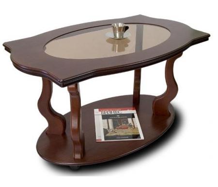 Купить Журнальный стол ДИК Мебель, Берже-3С со стеклом на колесах, темно-коричневый / прозрачный