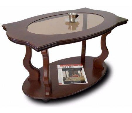 Купить Журнальный стол Мебелик, Берже-3С со стеклом на колесах, темно-коричневый